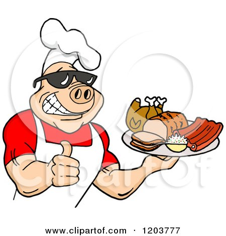 Cartoon of a Happy Muscular Chef Pig Wearing a Hat and Sunglasses, Holding a Thumb up and a Plate of Bbq Meats - Royalty Free Vector Clipart by LaffToon