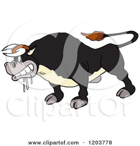 Cartoon of a Mad Salivating Black Bull - Royalty Free Vector Clipart by LaffToon