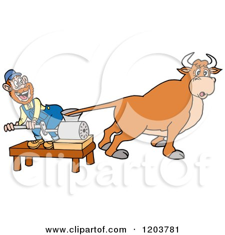 Cartoon of a Hillbilly with a Cows Tail in a Meat Grinder - Royalty Free Vector Clipart by LaffToon