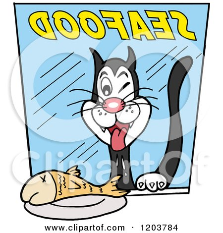 Cartoon of a Hungry Cat Drooling over a Fish in a Seafood Store Window - Royalty Free Vector Clipart by LaffToon
