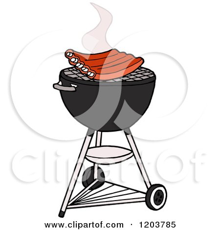 Cartoon of Bbq Ribs Cooking on a Weber Charcoal Grill - Royalty Free Vector Clipart by LaffToon