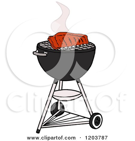Cartoon of Barbeque Ribs Cooking on a Weber Charcoal Grill - Royalty Free Vector Clipart by LaffToon