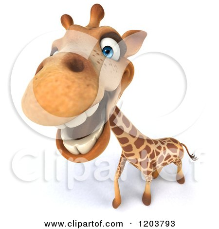 Clipart of a 3d Happy Giraffe Smiling - Royalty Free CGI Illustration by Julos