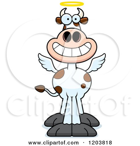 Cartoon of a Grinning Holy Cow - Royalty Free Vector Clipart by Cory Thoman