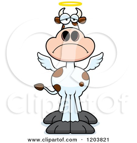 Cartoon of a Depressed Holy Cow - Royalty Free Vector Clipart by Cory Thoman