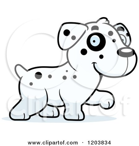 Cartoon of a Cute Dalmatian Puppy Walking - Royalty Free Vector Clipart by Cory Thoman