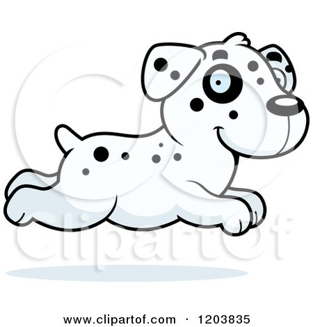 Cartoon of a Cute Dalmatian Puppy Running - Royalty Free Vector Clipart by Cory Thoman