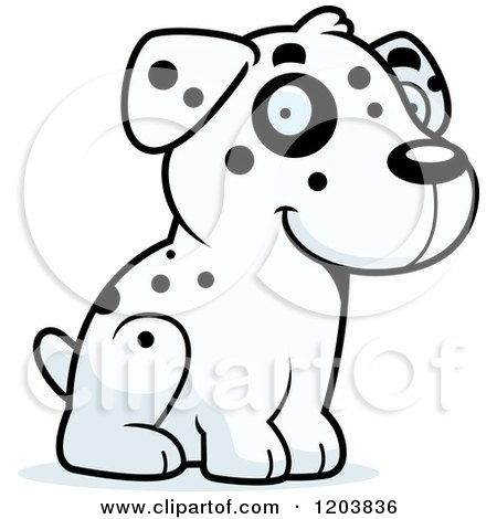 Cartoon of a Cute Dalmatian Puppy Sitting - Royalty Free Vector Clipart by Cory Thoman