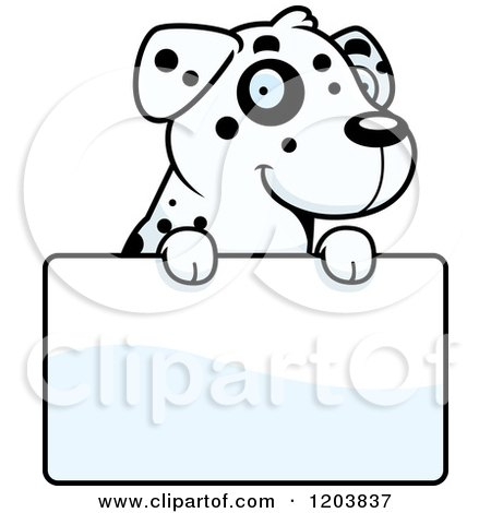 Cartoon of a Cute Dalmatian Puppy over a Sign - Royalty Free Vector Clipart by Cory Thoman