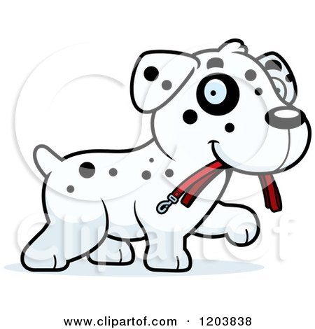 Cartoon of a Cute Dalmatian Puppy Carrying a Leash - Royalty Free Vector Clipart by Cory Thoman