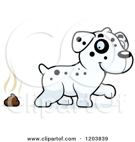 Cartoon of a Cute Dalmatian Puppy and Pile of Poop - Royalty Free Vector Clipart by Cory Thoman