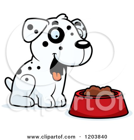 Cartoon Of A Black And White Cute Dalmatian Puppy Over A