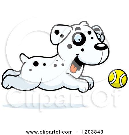 Cartoon of a Cute Dalmatian Puppy Chasing a Tennis Ball - Royalty Free Vector Clipart by Cory Thoman