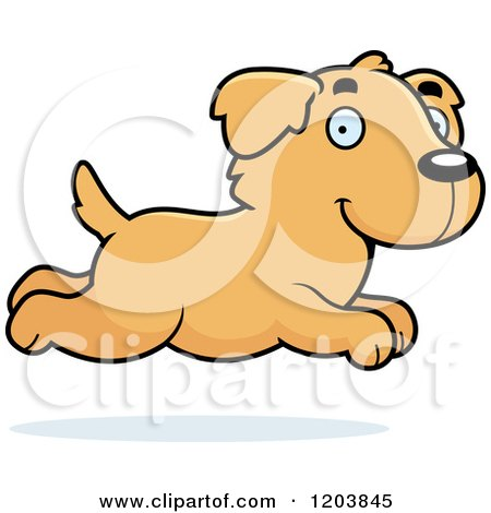 Cartoon of a Cute Golden Retriever Puppy Running - Royalty Free Vector Clipart by Cory Thoman