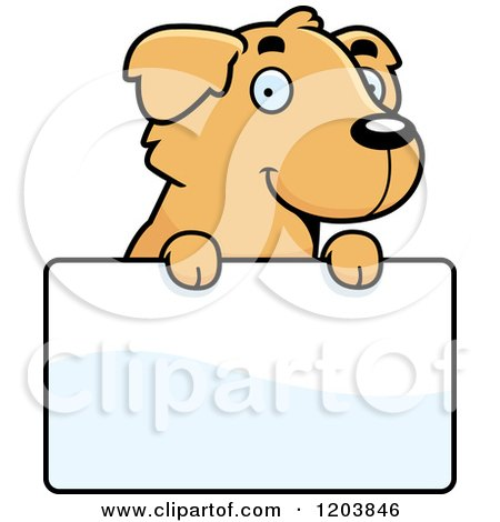 Cartoon of a Cute Golden Retriever Puppy over a Sign - Royalty Free Vector Clipart by Cory Thoman