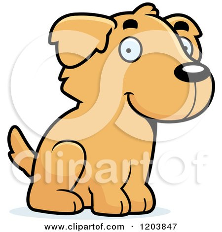 Cartoon of a Cute Golden Retriever Puppy Sitting - Royalty Free Vector Clipart by Cory Thoman