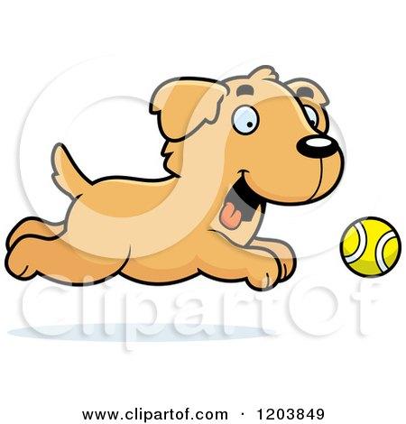 Cartoon of a Cute Golden Retriever Puppy Chasing a Tennis Ball - Royalty Free Vector Clipart by Cory Thoman