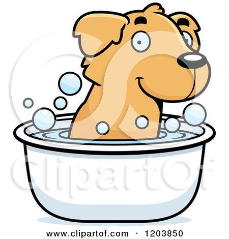 Cartoon of a Cute Golden Retriever Puppy Taking a Bath - Royalty Free Vector Clipart by Cory Thoman