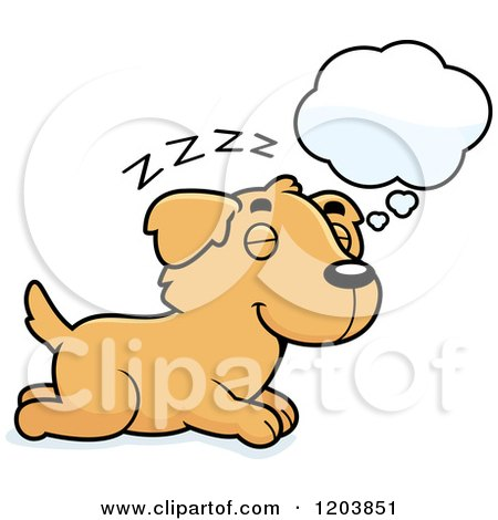 Cartoon of a Cute Golden Retriever Puppy Dreaming - Royalty Free Vector Clipart by Cory Thoman