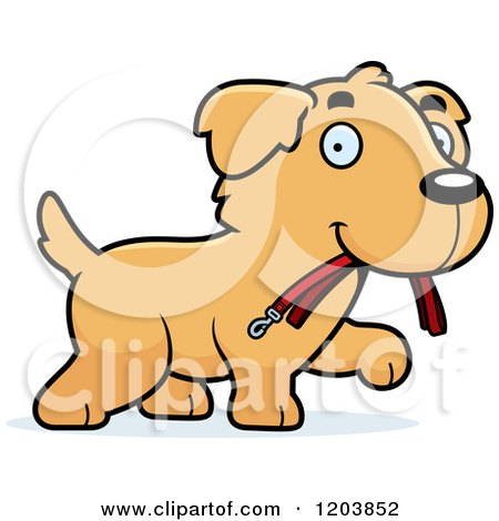 Cartoon of a Cute Golden Retriever Puppy Carrying a Leash - Royalty Free Vector Clipart by Cory Thoman