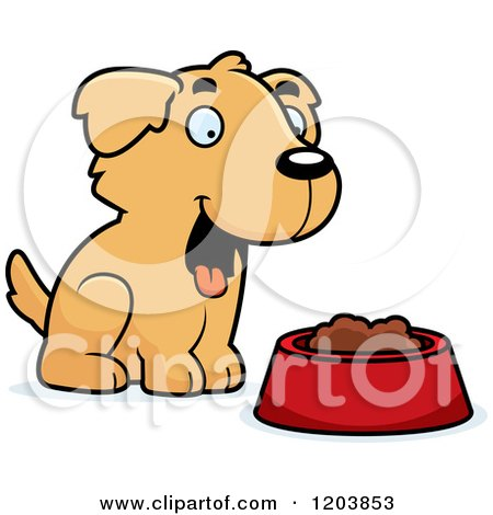 Cartoon of a Cute Golden Retriever Puppy with Food - Royalty Free Vector Clipart by Cory Thoman