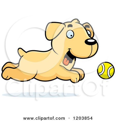 Cartoon of a Cute Yellow Labrador Puppy Chasing a Tennis Ball - Royalty Free Vector Clipart by Cory Thoman