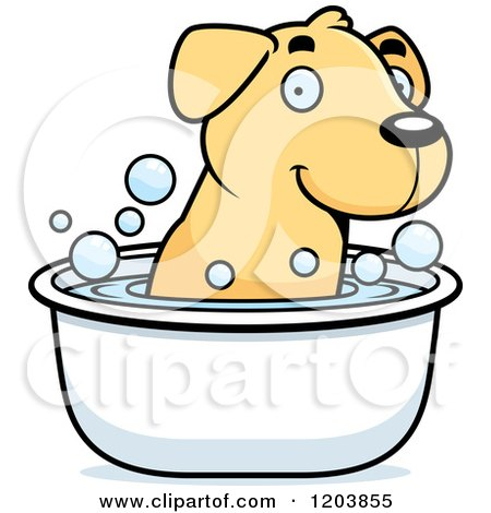 Cartoon of a Cute Yellow Labrador Puppy Taking a Bath - Royalty Free Vector Clipart by Cory Thoman