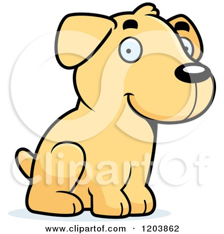 Cartoon of a Cute Yellow Labrador Puppy Sitting - Royalty Free Vector Clipart by Cory Thoman