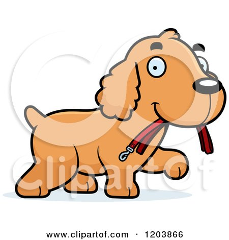 Cartoon of a Cute Spaniel Puppy Carrying a Leash - Royalty Free Vector Clipart by Cory Thoman