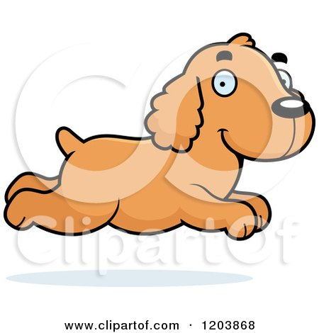 Cartoon of a Cute Spaniel Puppy Running - Royalty Free Vector Clipart by Cory Thoman