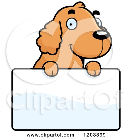 Cartoon of a Cute Spaniel Puppy over a Sign - Royalty Free Vector Clipart by Cory Thoman