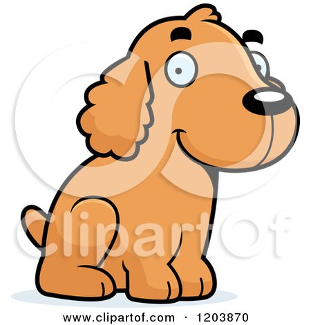 Cartoon of a Cute Spaniel Puppy Sitting - Royalty Free Vector Clipart by Cory Thoman