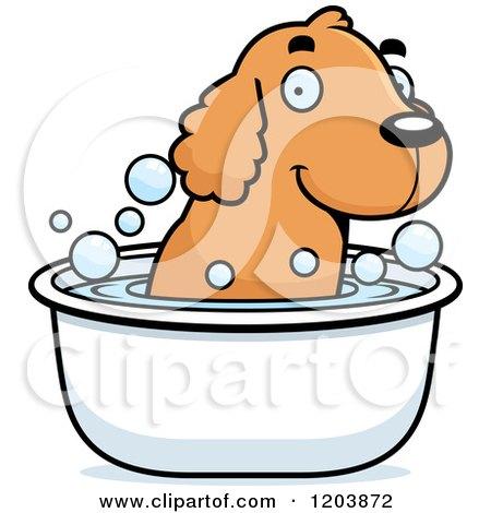 Cartoon of a Cute Spaniel Puppy Taking a Bath - Royalty Free Vector Clipart by Cory Thoman
