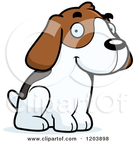 Cartoon of a Cute Beagle Puppy Sitting - Royalty Free Vector Clipart by Cory Thoman