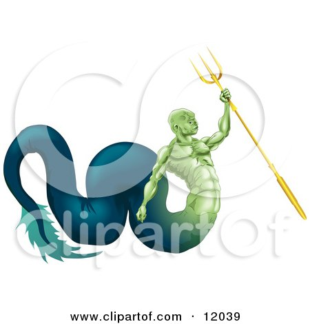 Poseidon Merman, God of the Sea, Part Fish and Part Man Holding a Trident Clipart Illustration by AtStockIllustration