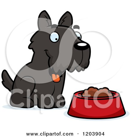 Cartoon of a Cute Scottish Terrier Puppy by Dog Food - Royalty Free Vector Clipart by Cory Thoman
