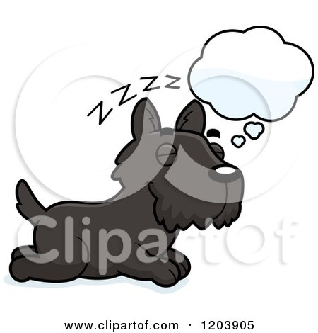 Cartoon of a Cute Scottish Terrier Puppy Dreaming - Royalty Free Vector Clipart by Cory Thoman