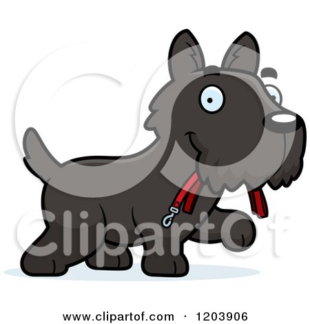 Cartoon of a Cute Scottish Terrier Puppy Carrying a Leash - Royalty Free Vector Clipart by Cory Thoman