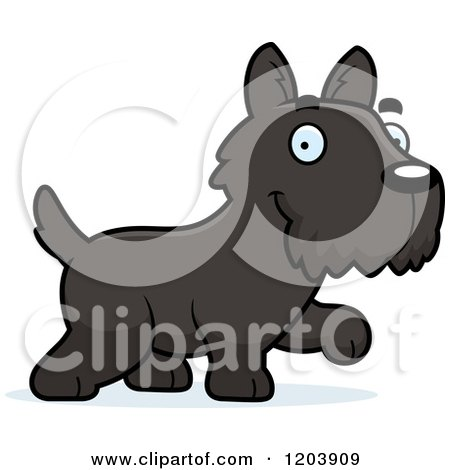 Cartoon of a Cute Scottish Terrier Puppy Walking - Royalty Free Vector Clipart by Cory Thoman