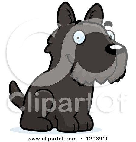 Cartoon of a Cute Scottish Terrier Puppy Sitting - Royalty Free Vector Clipart by Cory Thoman