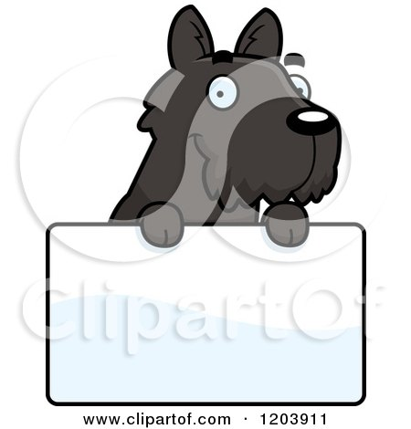Cartoon of a Cute Scottish Terrier Puppy over a Sign - Royalty Free Vector Clipart by Cory Thoman