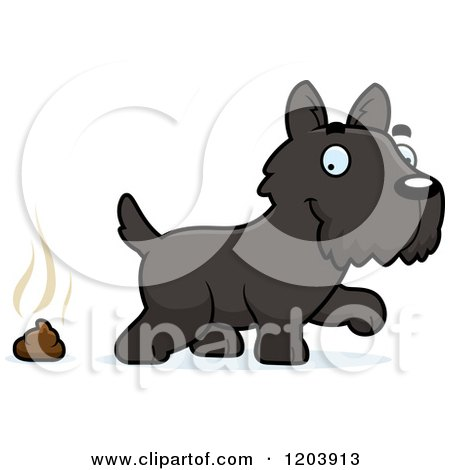 Cartoon of a Cute Scottish Terrier Puppy and a Pile of Dog Poop - Royalty Free Vector Clipart by Cory Thoman