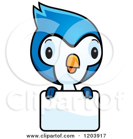 Animated Blue Jay Cartoon of a cute baby blue