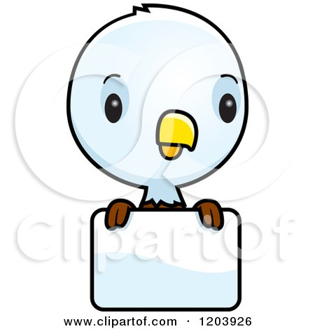 Cartoon of a Cute Baby Bald Eagle over a Sign - Royalty Free Vector Clipart by Cory Thoman