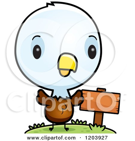 Cartoon of a Cute Baby Bald Eagle by a Sign Post - Royalty Free Vector Clipart by Cory Thoman