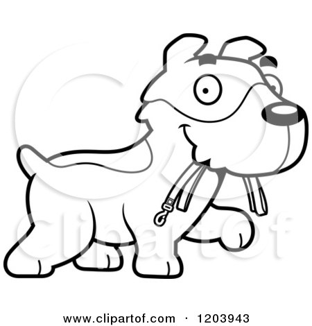 Cartoon of a Black And White Cute Jack Russell Terrier Puppy Carrying a Leash - Royalty Free Vector Clipart by Cory Thoman