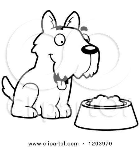 Cartoon of a Black And White Cute Scottish Terrier Puppy by Dog Food - Royalty Free Vector Clipart by Cory Thoman