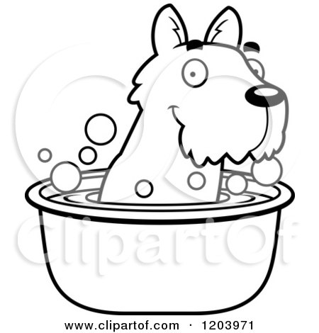 Cartoon of a Black And White Cute Scottish Terrier Puppy Taking a Bath - Royalty Free Vector Clipart by Cory Thoman