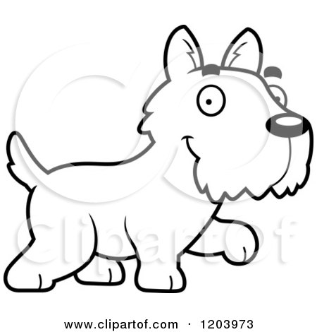 Cartoon of a Black And White Cute Scottish Terrier Puppy Walking - Royalty Free Vector Clipart by Cory Thoman