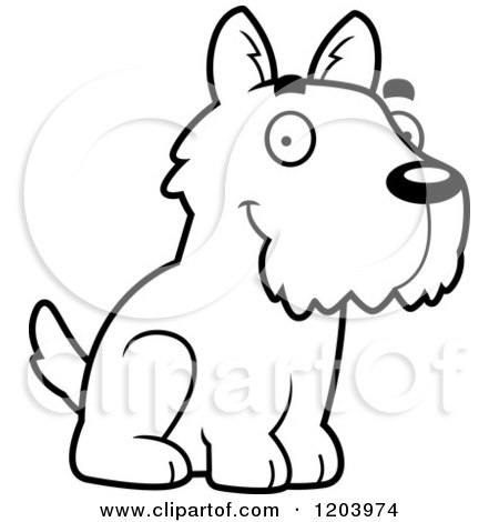 Cartoon of a Black And White Cute Scottish Terrier Puppy Sitting - Royalty Free Vector Clipart by Cory Thoman
